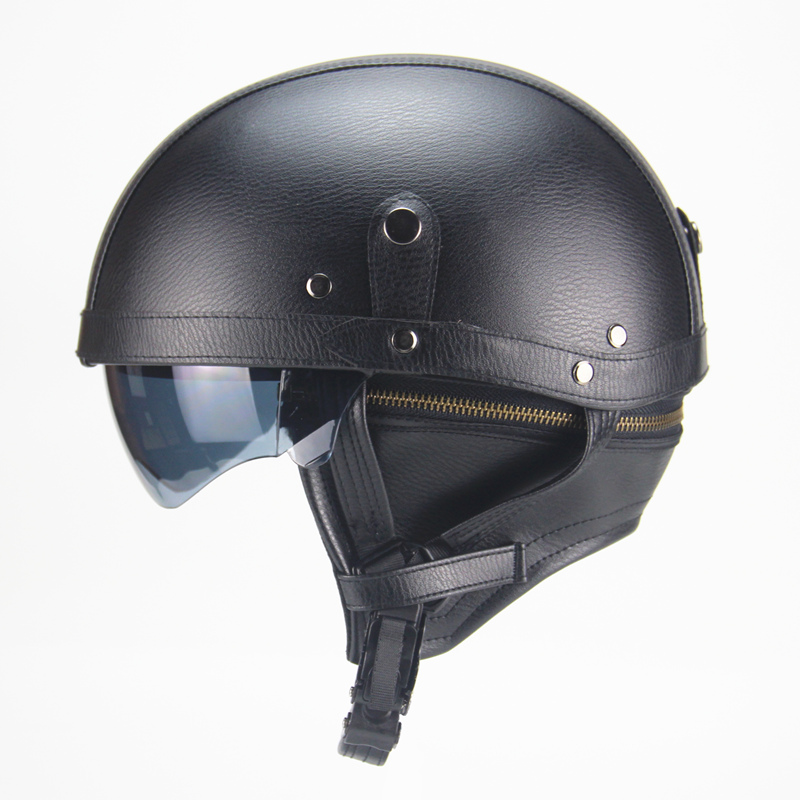 Motorcycle Motorbike Rider Half Open Face PU Leather Helmet with dual lens Vespa DOT Motorcycle Motorbike Rider Half Open Face PU Leather Helmet with dual lens Vespa DOT