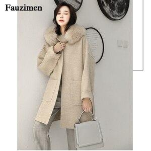 Image 3 - Cashmere Jacket Women Ladies Hand Made Women Fox Fur Collar Wool Coat Casual Winter Wool Jacket Woolen Overcoat Cashmere Coat