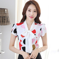 Candy Colors Printed Lady Summer Blouses Plus Size S 3XL Short Sleeve Tops 2016 Girls Casual