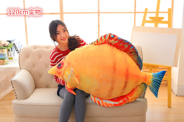 huge plush creative bread fish toy yellow fish pillow doll gift about 120cm 120cm creative simulation arowana plush toy pillow cushion fish doll home decoration
