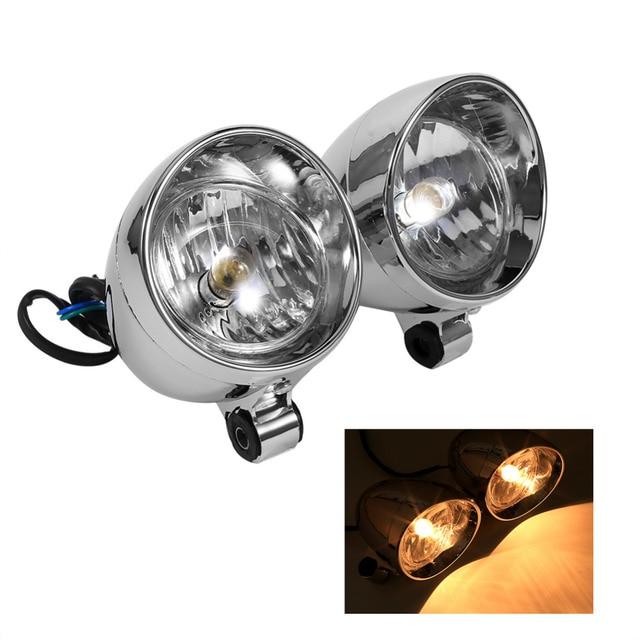 2PCS Motorcycle Headlights Motorbike Bullet Fog Light For Yamaha, Honda, Harley, Davidson