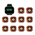 Wireless Restaurant Pager Coaster Office Calling System With Watch Wrist Receiver +10pcs Sliver Call Button Pager