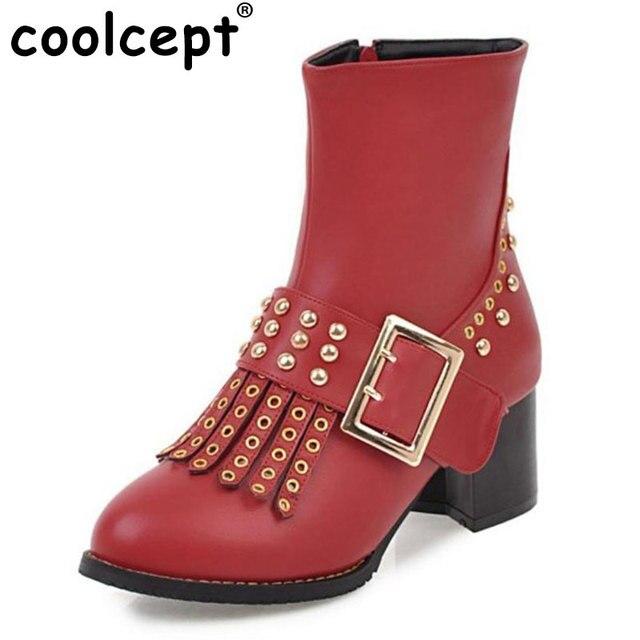 aebd4a7d195b58 Coolcept 4 Farben Größe 32-48 Frauen Halb Kurze Stiefel Niet Loch High  Heels Stiefel
