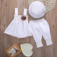 Newborn Baby Girls Princess Dress Tops Pants Hat 3pcs Kids Outfits Sets Baby Girls Clothes Set