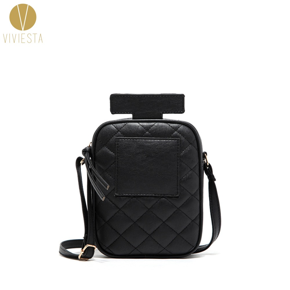 PERFUME BOTTLE CROSSBODY BAG - Womens Girls Fun Cute Retro Vintage Street Fashion Quilting Quilted Day Clutch Bag Purse Handbag