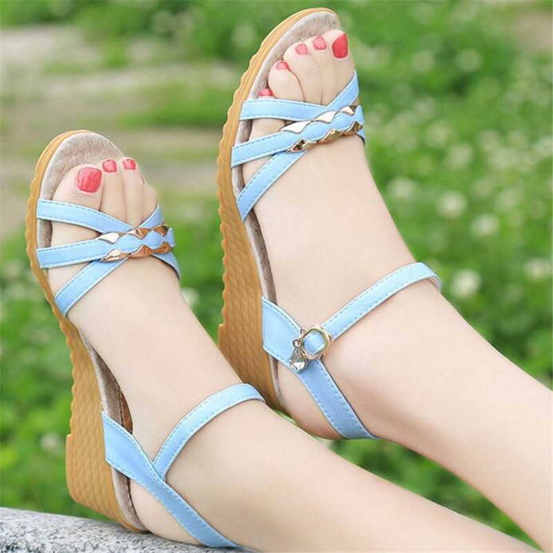 Women's Sandals Flat-Bottom Fashion Wedges Metal-Buckle Single-Product
