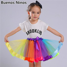 цены на Ins Style 3-8 Years Old Girls Rainbow Tutu Skirts For Children Birthday Princess Mini Pettiskirt Party Dance Bowknot Mesh Skirt  в интернет-магазинах
