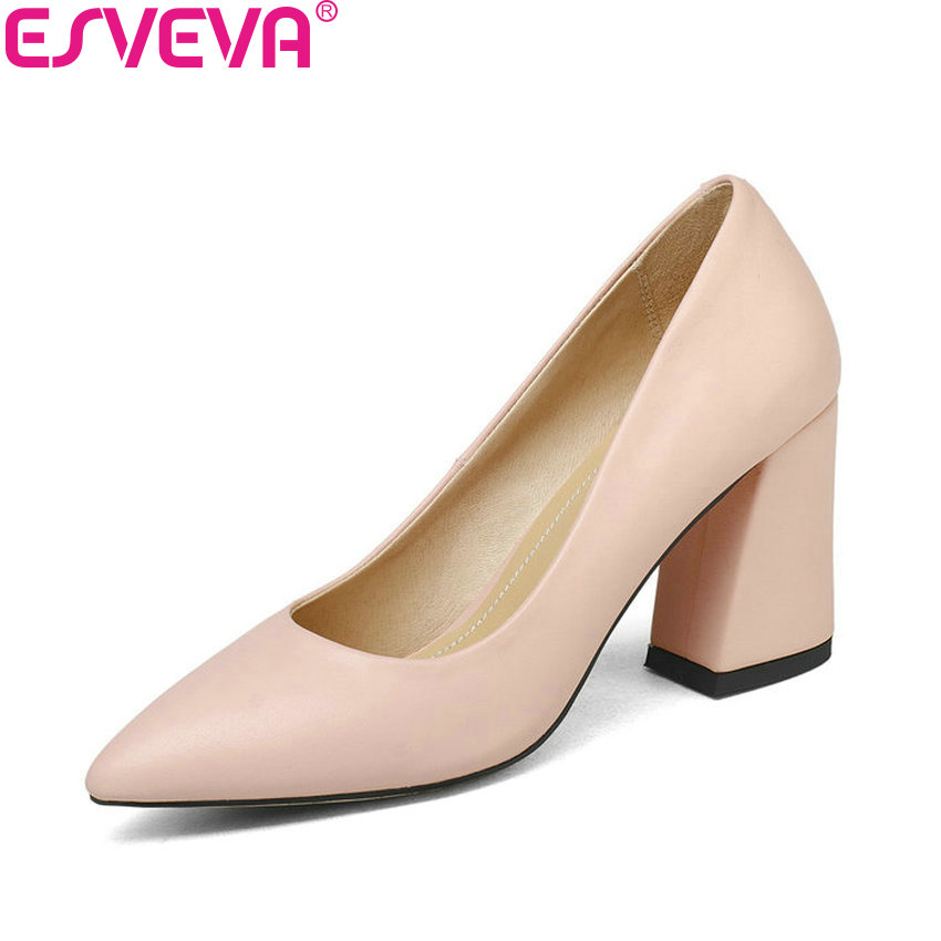 ESVEVA 2018 Women Pumps Elegant Shoes Slip on Square High Heels Pointed Toe Shallow Spring Autumn Wedding Women Shoes Size 34-43