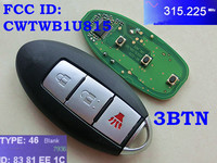 RMLKS 315Mhz ID46 Chip PCF7952 Chip Smart Card Auto 3 4 Button Remote Smart Key Fit