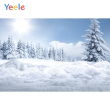 Yeele Winter Scenery Tree Sun Snow Cloud Room Decor Photography Backdrops Personalized Photographic Backgrounds For Photo Studio