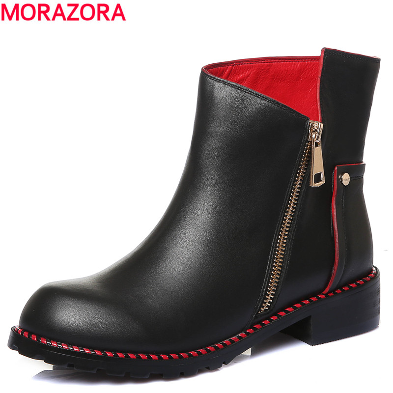ФОТО Plus size 34-43 NEW 2017 full genuine leather ankle boots round toe solid black color platform winter ankle boots fashion shoes