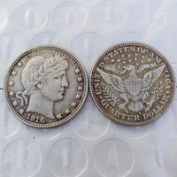 90% Silver or silver plated U.S. Coins 1916-D Barber Quarter Dollars Retail / Whole Sale USA Copy Coins