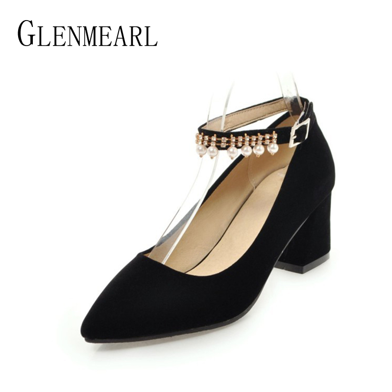 Fashion Women High Heels Shoes Pumps Brand Spring Buckle Thick Heels Single Ladies Heels Wedding Pumps Shoes Plus Size 34-46 new 2017 spring summer women shoes pointed toe high quality brand fashion womens flats ladies plus size 41 sweet flock t179
