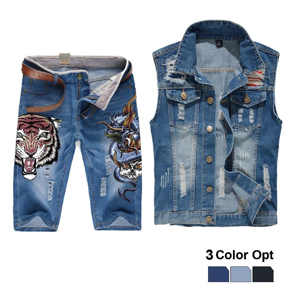 Men Jean Vest Jacket Set Retro Ripped Destroyed Skinny Hole Top Denim Short Pants 1/2 Trousers Summer Beach Wear Tiger Monster