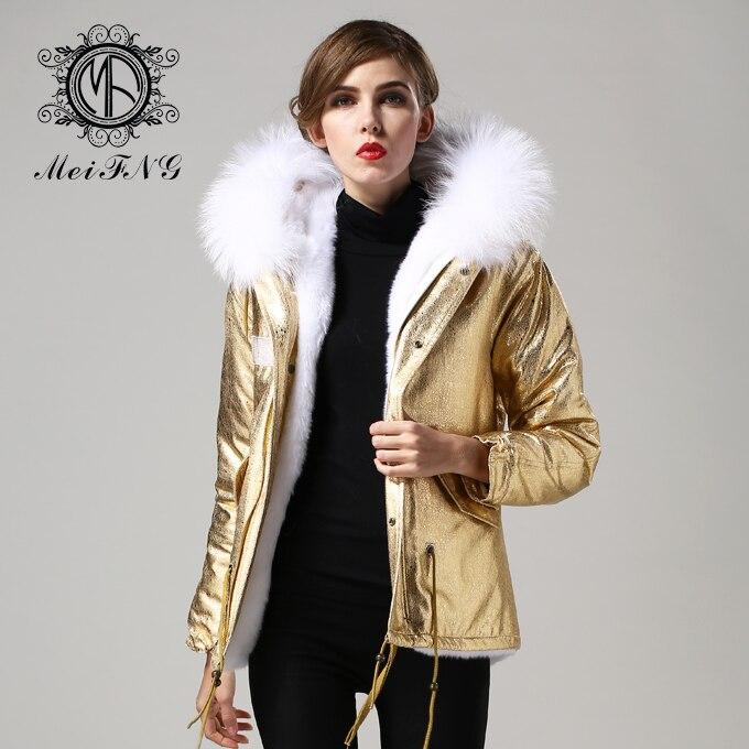 Veste Style 2017 Blanc Parka D'or La Fourrure Taille Unisexe Fausse En Chaud Plus Grand Capuchon À De Court ggTFwq1