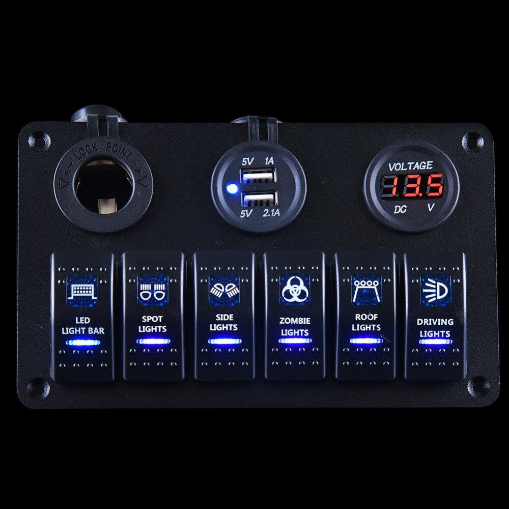 Prix pour Étanche interrupteur du panneau Marine 6 Gang Avec Chargeur USB et Prise De Courant