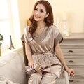 Verão 2016 Mulheres Sexy Pijama De Seda Definir Moda V-neck Mangas Curtas Camelo Cinza Pijamas De Seda Plus Size Salão Pijamas Set