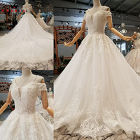 Custom Made Ball Gown Lace Beaded Crystal vestido de noiva Wedding Dresses 2019 QUEEN BRIDAL Marriage Bride Gown WD44