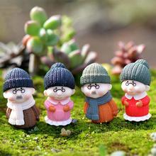 4pcs/Set  Mini Grandpa And Grandma Ornament Fairy Garden Miniatures