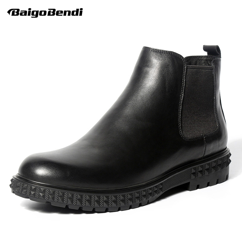 US 6- 10 New Mens Genuine Leather Pull On Martin Boots Casual Round Toe Ridding Boots Business Man Winter Shoes Oxfords riding winter boots feathers 2015 new fashion korean metal decoration genuine leather elevator pull on pure color round toe