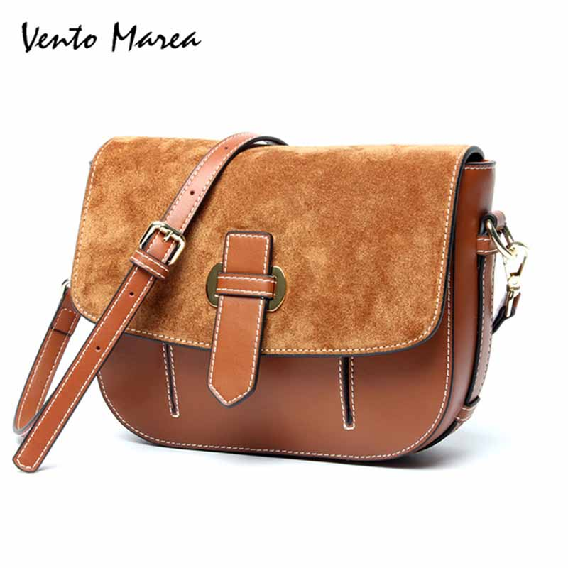 Vento Marea Women Vintage Small Messenger Bags Ladies Leather Strap Bag Women Real Leather Shoulder Bags Bolsa Feminina цена 2017