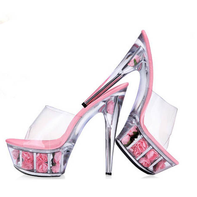 Big Size 2018 New Transparent Women Pumps Sexy Crystal High Heels Platform  Sandals Flower Crystal Bottom 46c6579065ac