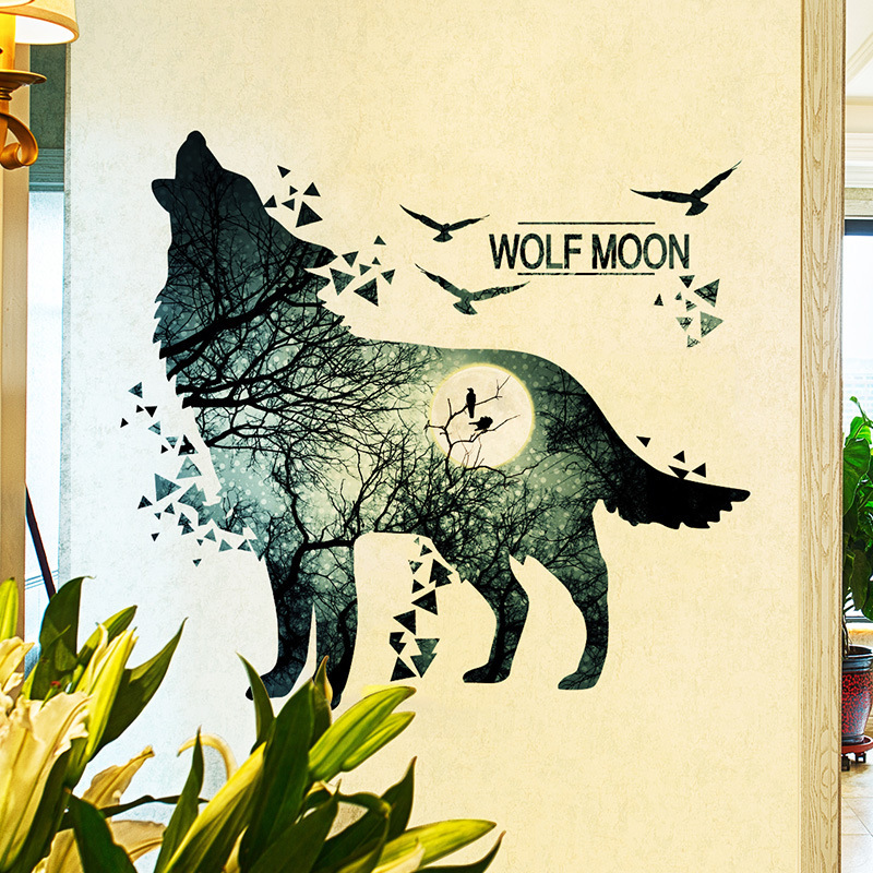 howling wolf wall stickers ninght scenery wallpaper black stickers ...