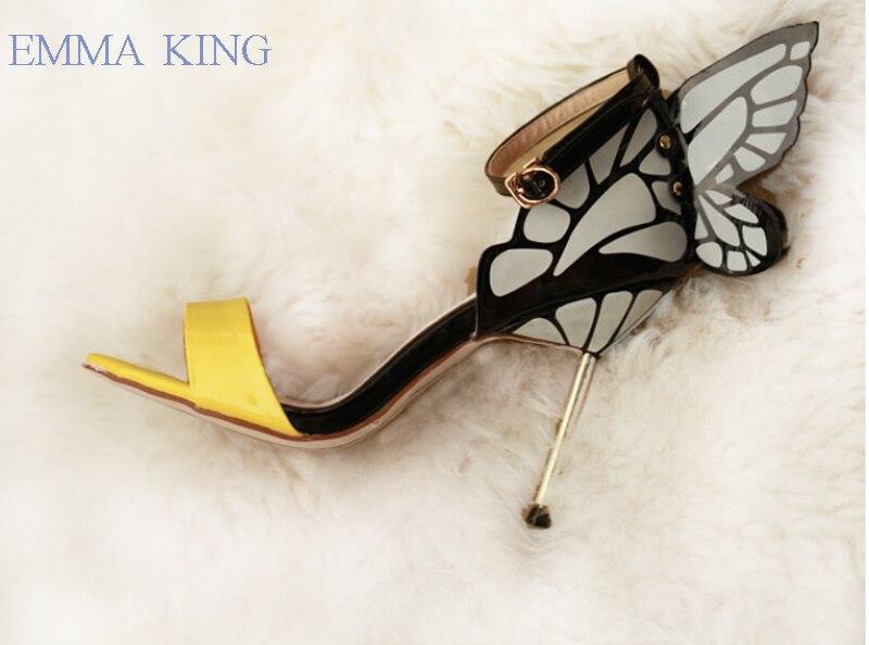 Hauts as As Cuir Chaussures Ailes De Soirée Femmes Boucle Spartiates 2 Jaune Papillon 1 Mode Pompes Talons Mince Sangle Verni Picture En Nouveau Sandales Femme aqwRxg