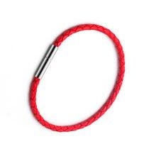 6a3d82a57af9 Rojo coreano pulseras para las mujeres de cuero de la PU de cuerda hilo rojo  trenza par pulsera de joyería Negro hombres accesor.