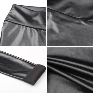 Image 5 - S 5XL בתוספת גודל עור מכנסיים נשים גבוהה מותן Pantalons Mujer Femme מכנסי עיפרון עור מפוצל חותלות למתוח מכנסיים נשים