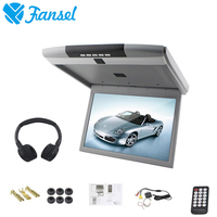 Fansel 17.3 Inch 1920x1080 Car Roof Flip Down Mount Monitor TFT LED Screen MP5 Player With IR/FM Transmitter/USB/SD/HDMI/Sperker