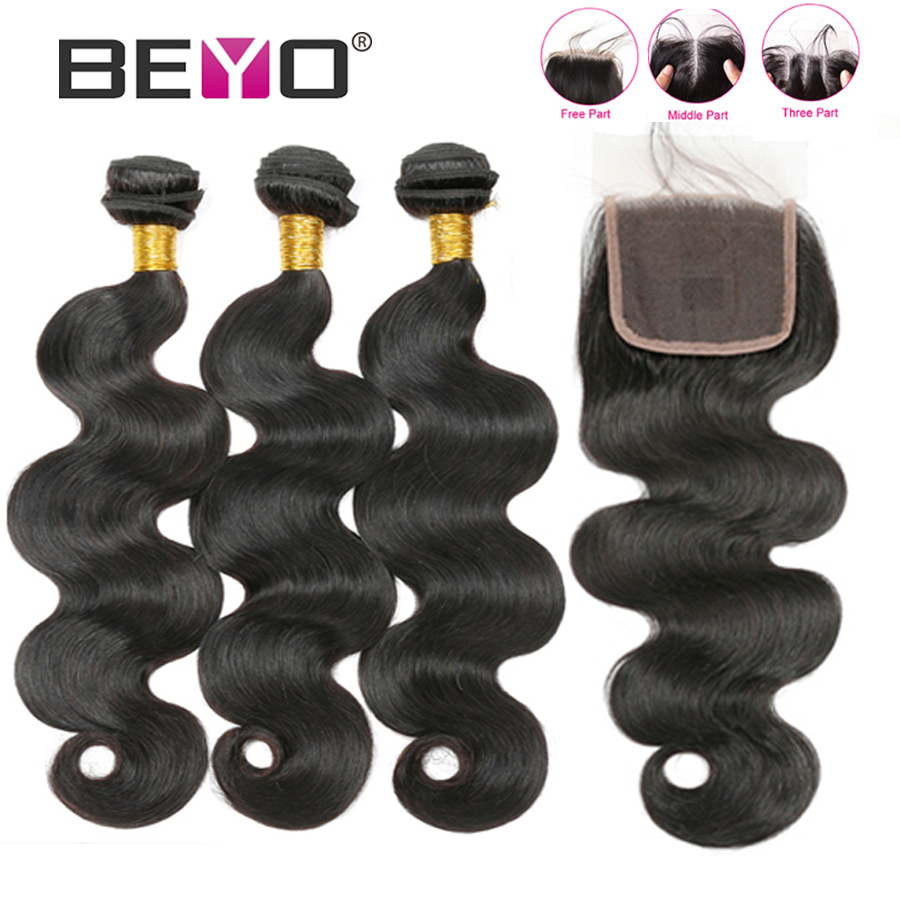 Body Wave Bundles With Closure Malaysian Human Hair 3 Bundles With Closure Non Remy Hair Extension