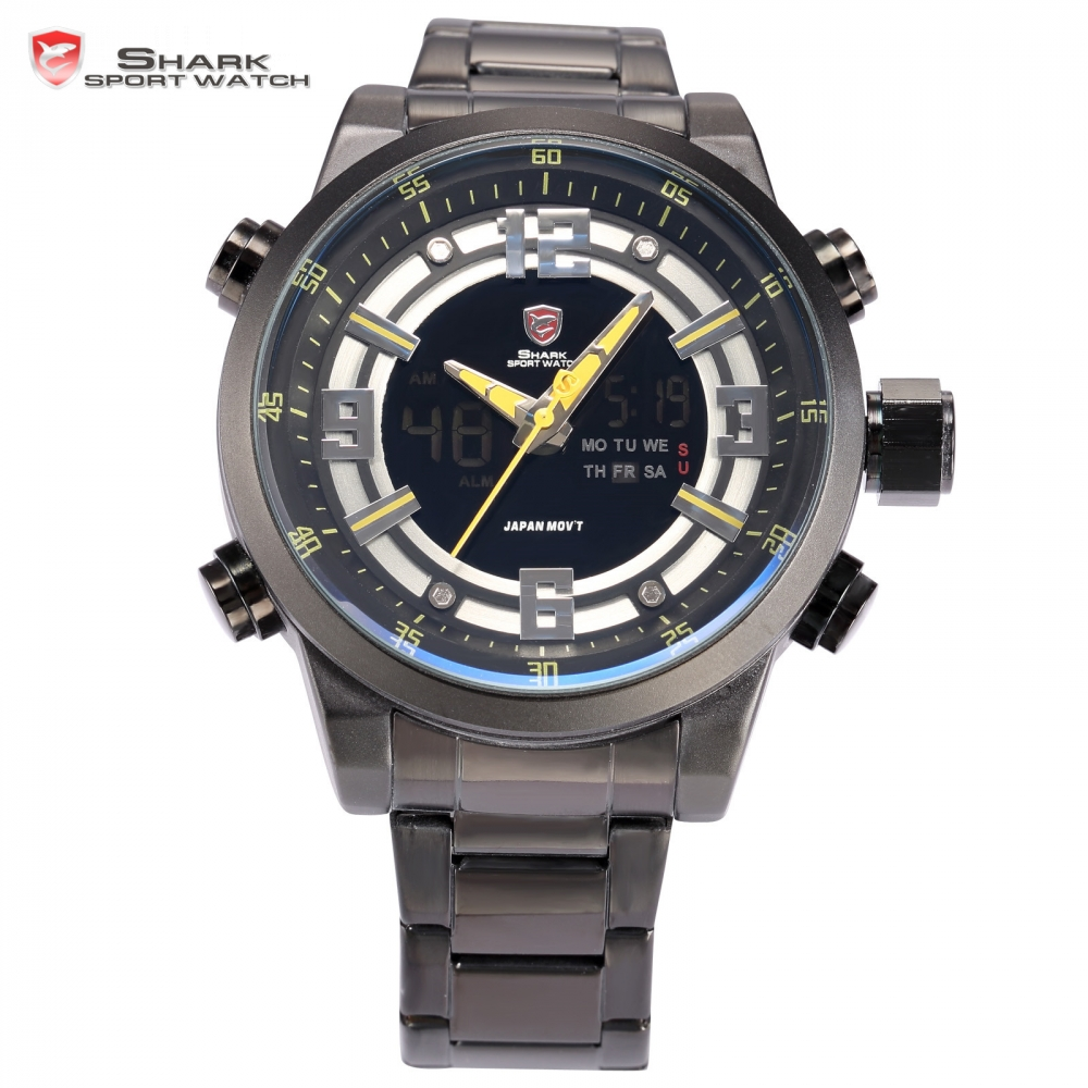 popular shark watches buy cheap shark watches lots from basking shark sport watch auto date day stopwatch lcd black yellow steel band relogio quartz military