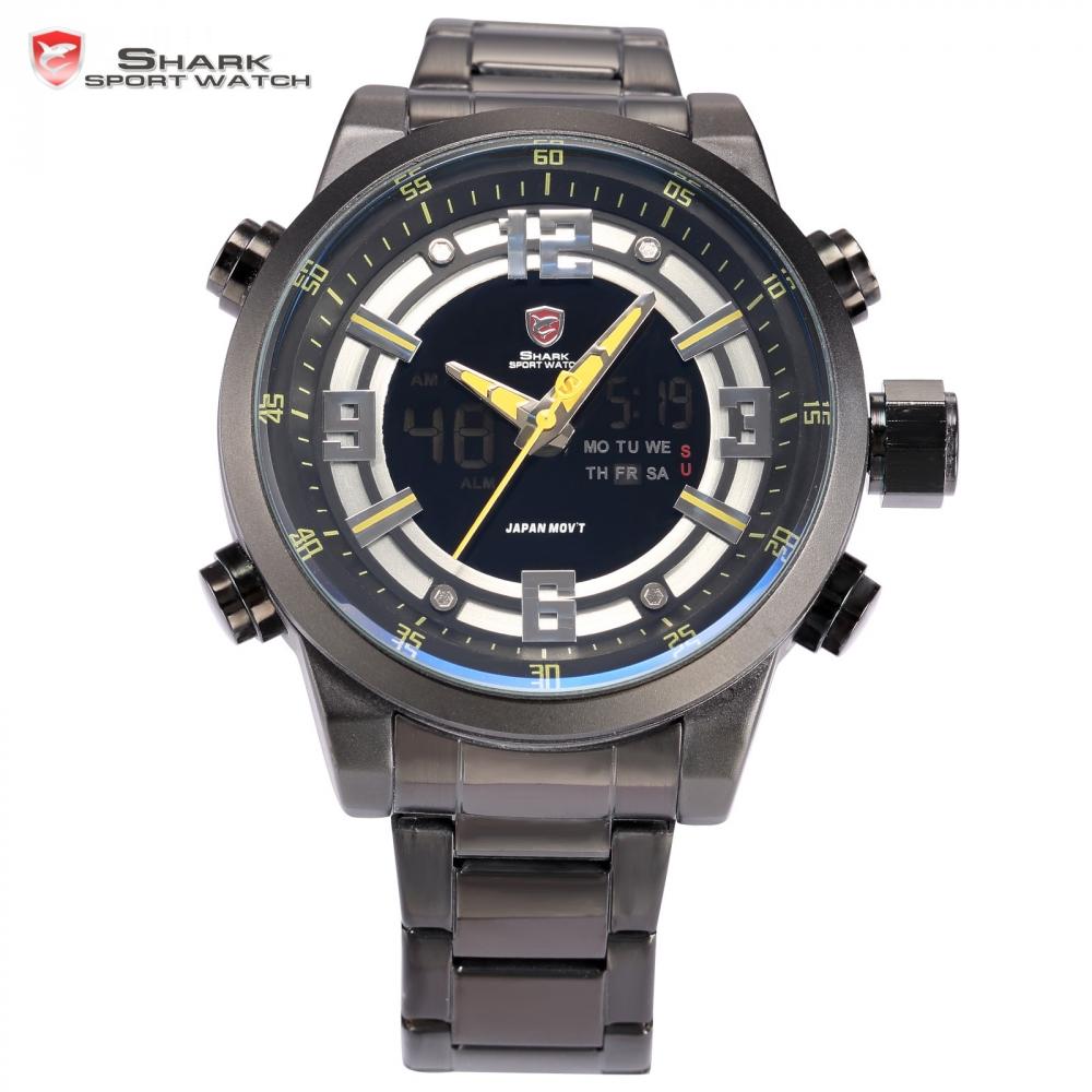 Prix pour Pèlerin shark sport montre automatique date jour chronomètre lcd noir jaune en acier bande relogio quartz militaire hommes numérique montres/sh342