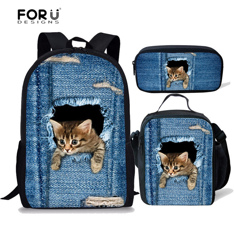 FORUDESIGNS 3D Demin Cat Printing School Bags For Girls Boys Children School Backpack Primary Book Bag Kids Backpack Mochila