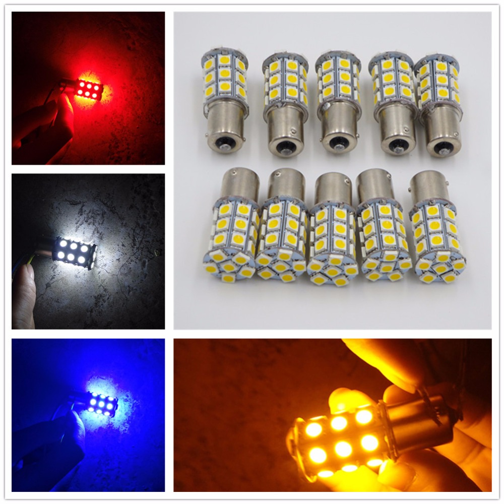 CYAN SOIL BAY LED Car Brake Bulb 1156 Ba15s P21W 27SMD 27 SMD 5050 Backup Turn Signal Tail Light Red Amber Yellow White Blue 24V