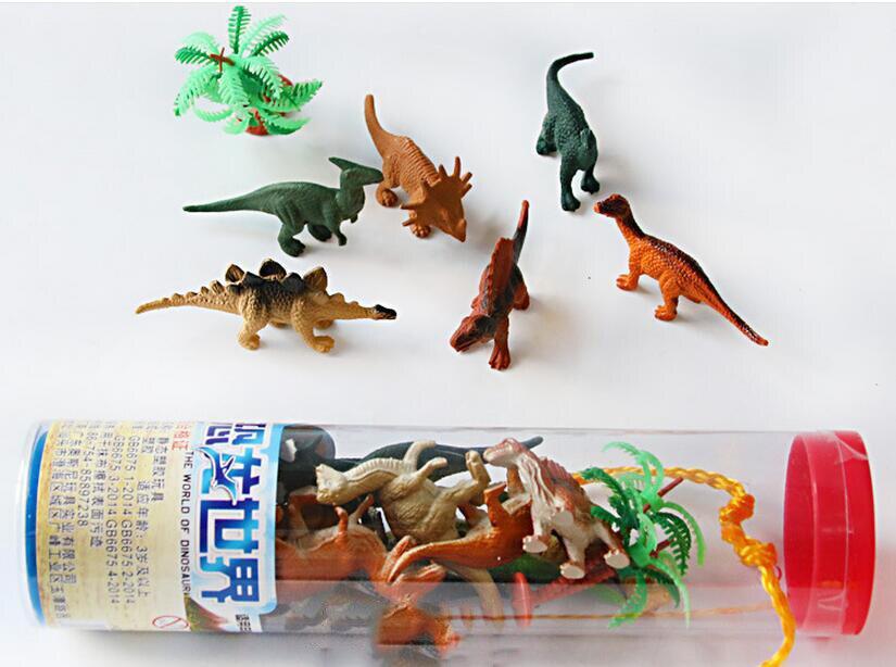 12 pz/set Mini Dinosaur Jurassic Gioco di Plastica Modello Action & Figures T-REX DINOSAURO Giocattoli per I Bambini Regali Di Compleanno Scatola Originale