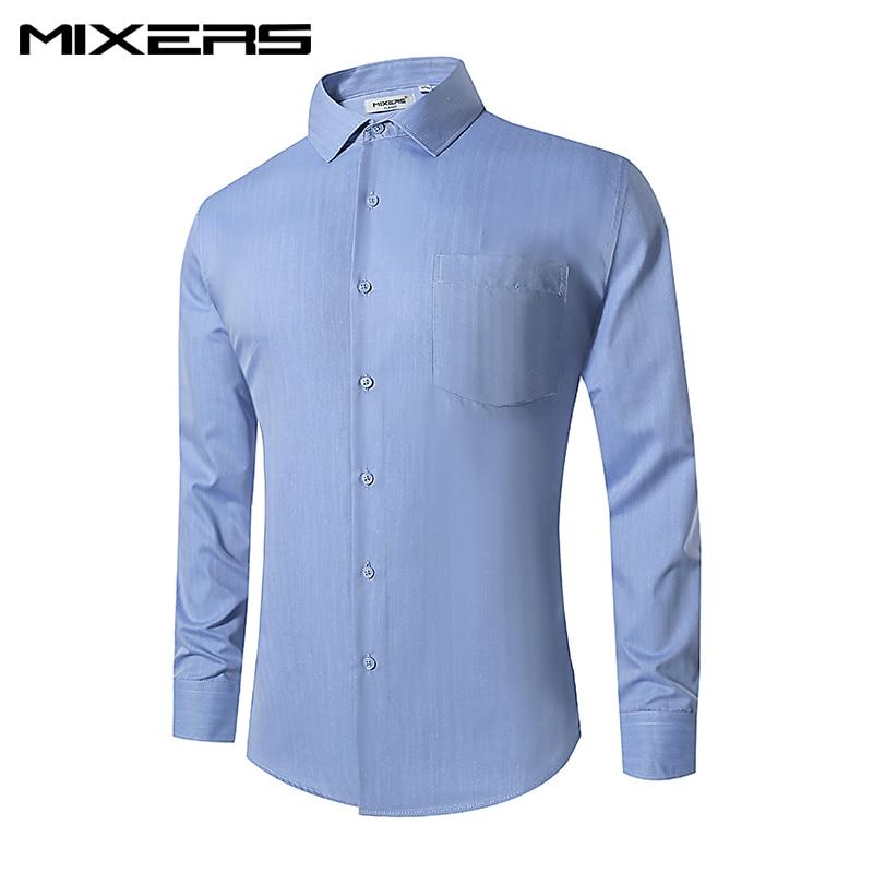 2018 Brand Blue Striped Men Shirts Long Sleeve Big Size Business Dress Shirt Men Breathable Casual Shirt Mens Camisas Clothes