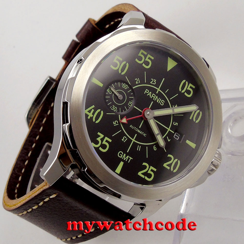 44mm Parnis black dial red GMT Sapphire glass ST Automatic Mens Watch P777 цена и фото