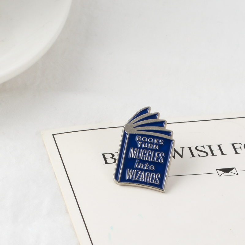 Brooks Brooch Blue Book Enamel Pins Badge Love Reading books Brooches Quote Literary Pins Buckle Reader Brooches For Women Men(China)