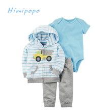 HIMIPOPO 3pcs Cartoon Embroidery Clothes Baby Boys Girls Clothes Set Kids Cardigan Set Toddler Boys Bodysuits Children Set Pant