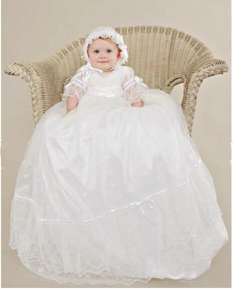 Heirloom Infant Vestidos Baby Girl Christening Dress Todder Girls Baptism Gown Lace Applique Robe White/Ivory 0-24month