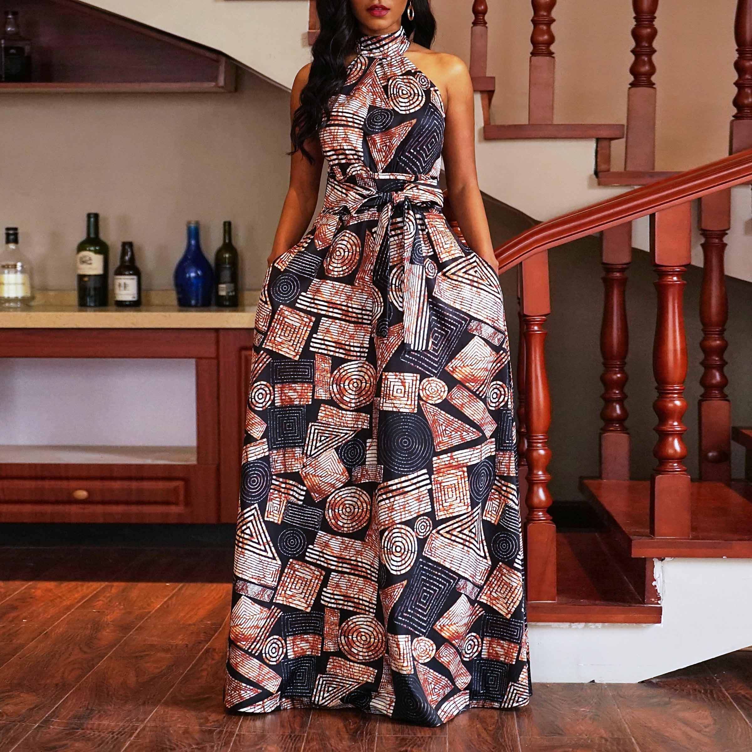 Femmes été élégante longue Robe hors épaule soirée mode couleur bloc sans manches Robe dames partie Sexy licou Maxi robes