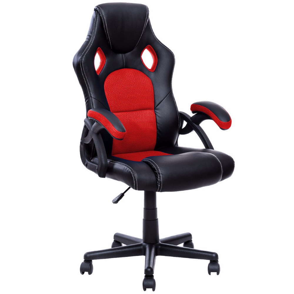 Goplus PU Leather Gaming Chair Executive Bucket Seat Racing Style Office Chair Modern Computer Desk Task Swivel Chairs HW53001-in Office Chairs from ...  sc 1 st  AliExpress.com & Goplus PU Leather Gaming Chair Executive Bucket Seat Racing Style ...