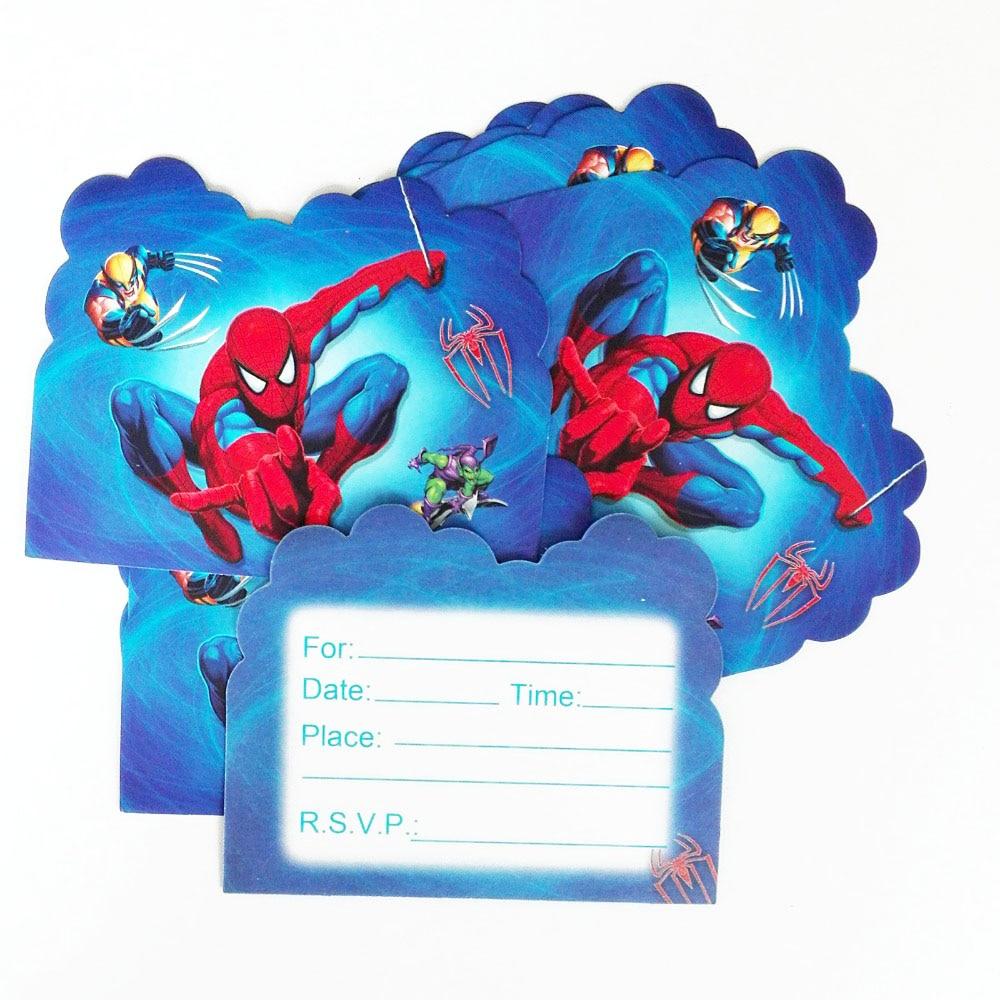 1 24 28 De Descuento 10 Unids Lote Spider Man Invitación Suministros Para Fiestas Y Tarjetas Tarjeta De Invitación Chico Cumpleaños Fiesta