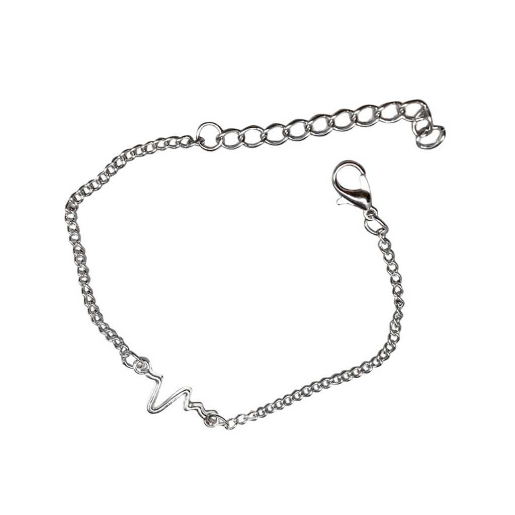 2019 women Bracelet lovely Heart Wave Medical Alert Charm Bracelets For Women Men Inspired Jewelry gift