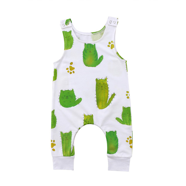 f64c6697f18 Newborn Baby Girls Boys Romper Cactus Cat Sleeveless Round Neck Toddler Girl  Boy Clothing Rompers Playsuit Jumpsuit Clothes