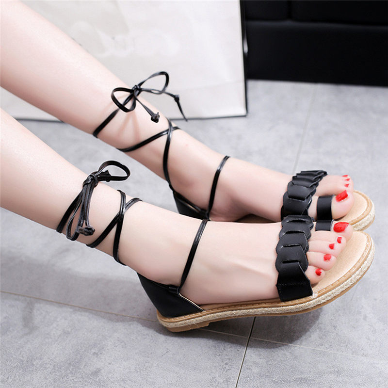 2017 Summer Women Fashion Sandals New Hot Fashion Summer Office Low Heel Casual Lace-Up Shoes High Grade Women's Sandals A8 size 30 43 woman ankle strap high heel sandals new arrival hot sale fashion office summer women casual women shoes p19266