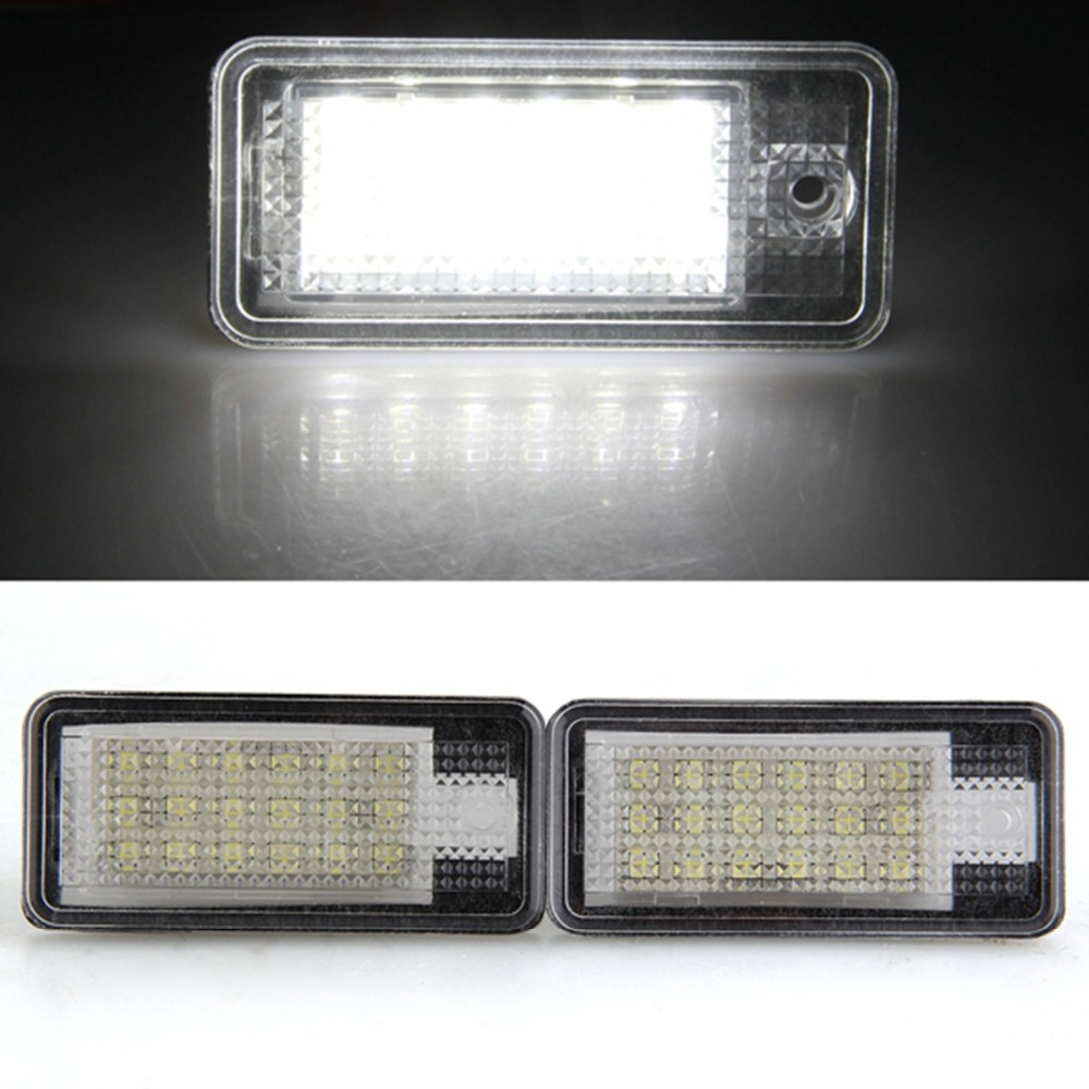 Qook 2piece White 18 LED 3528 SMD License Plate Lights Lamps Bulbs for AUDI A3 8P A6 4F