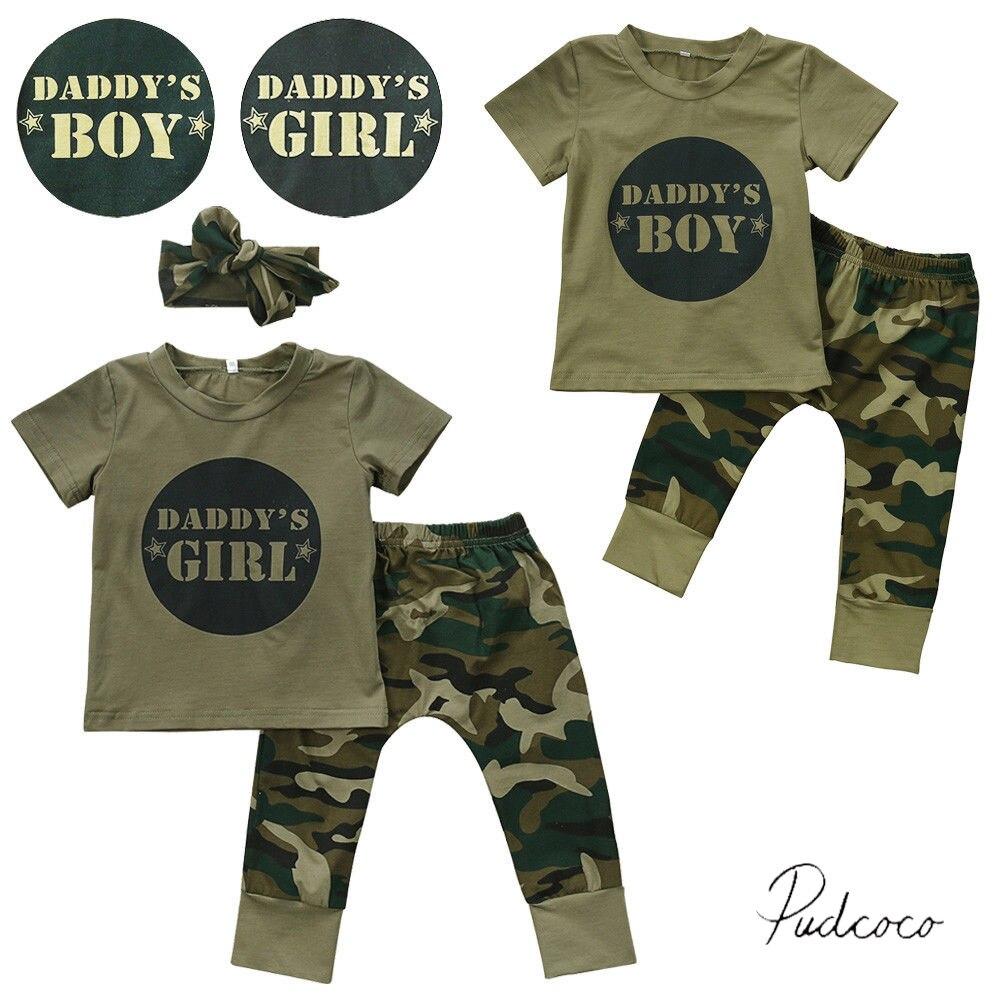 Camo Daddy's Junge/mÄdchen 2017 Kühlen Neugeborene Baby Jungen Mädchen T-shirt Tops Hosen Outfits Set 6 12 18 24 M Ein Unbestimmt Neues Erscheinungsbild GewäHrleisten